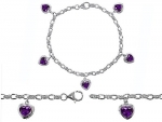 Original Star K(tm) High End Tennis Charm Bracelet With 5pcs 7mm Heart Shape Genuine Amethyst in .925 Sterling Silver