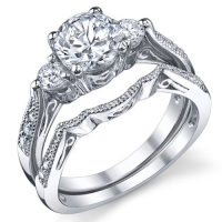 Sterling Silver Wedding Engagement Ring Set with Cubic Zirconia CZ Size 6