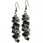 2 Black and Silver Cluster Faceted Crystal Dangle Hook Earrings For Women