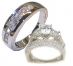 Edwin Earls His & Hers 3 Piece Wedding Engagement Ring Set 925 Sterling Silver (Womens 5-10)(mens 9-13) Whole & Half Sizes. Please Email Us the Sizes That You Need. Hh11