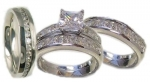 Edwin Earls His & Her 4 Piece Wedding Ring Set 925 Sterling Silver (Womens 5-11)(mens 8-13) Please Email Us the Sizes That You Need After the Sale.
