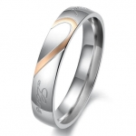 Lover's Heart Shape Titanium Stainless Steel Mens Ladies Promise Ring Real Love Couple Wedding Bands (Ladies' Ring, 4.5)
