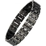 Willis Judd New Mens Gunmetal Titanium Magnetic Bracelet In Velvet Box with Free Link Removal Tool