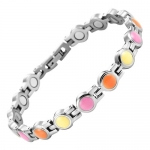 Willis Judd New Womens Titanium Magnetic Bracelet with Alternating Pink, Orange and Yellow Enamel detail In Black Velvet Gift Box with Free Link Removal Tool