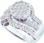 Ladies 14K White Gold 1.80ct Round Baguette Cut Diamond Flower Engagement Wedding Bridal Band Ring