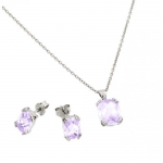 Rhodium Plated 925 Sterling Silver Prong Set June Birthstone Alexandrite Faceted Cubic Zirconia CZ Earring and Necklace Set