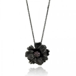 Black Rhodium Plated Brass Lavender Cubic Zirconia Diamonds Designer Flower Pendant Charm Necklace with 16-18 Adjustable Chain