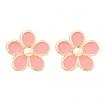 14k Gold Pink Enamel Flower Childrens Earrings