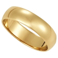 Men's 14K Yellow Gold 6mm Traditional Plain Wedding Band (Available Ring Sizes 7-12 1/2) Size 7