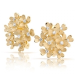 Bling Jewelry Matte Gold Plated CZ 3 Leaf Clover Flower Cluster Clip On Earrings