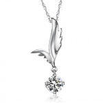 White Gold Plated Angel Wing Pendant Necklace for Women with Large Round Clear Cubic Zirconia Crystals