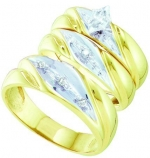 10K Yellow Gold 0.15 Ct Marquise Diamond Solitaire Engagement Ring Wedding Band Bridal Trio Set