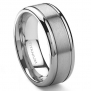 Titanium 8mm Grooved Wedding Ring Sz 6.5 SN#225
