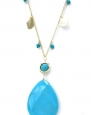 14k Gold Plated Matte Gold Natural Turquoise 36 Inch Long Pendant Necklace for Women