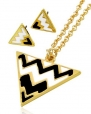 Goldtone Black and White Chevron Necklace and Earrings Set Fashion Jewelry
