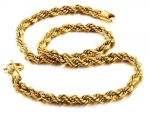 18K Gold Plated Rope Chain Necklace 6mm Wide 19 In. Long, with Free Jewelry Pouch