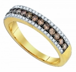 Ladies 14K Yellow Gold .58ct Brown Diamond Wedding Band