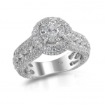 Round Diamond Engagement Ring 14K White Gold 2.92 Ct. Bridal Set