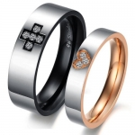Stainless Steel Love Couples Promise Rings Mens Ladies Wedding Bands with Patterned Cubic Zirconia Heart and Cross Inlay, Women's Size 8