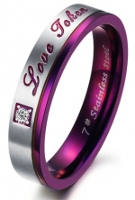 Purple Stainless Steel Engraved Love Token Couples Engagement Wedding Anniversary Promise Ring Band with CZ Inlay, Ladies' Size 7