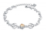 Rhodium Plated Womens Bracelet Dolphin Link Bracelet with Champagne Crystal 6.5 Long with 1 Extender