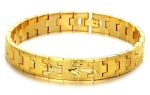 18K Yellow Gold Plated Square Chain Bracelet Unisex Sandblast Finish with Wings, 10mm Wide 8 Long