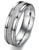 Titanium Stainless Steel Sand Finish Couple Wedding Band Comfort Fit, For Ladies 06