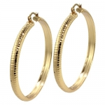 2 Women Yellow Gold Plated Diamond-Cut Hoop Earrings