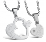 Stainless Steel Heart Pendant Necklace for Couples with Engraved love as company as lifelong and Diamond Cut Zirconia Accents, Steel Finish Pendant for Women and Men, Pair