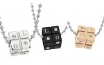 Titanium Stainless Steel Necklace for Couples Black Dice Pendant for Women with Rhinestone Accents Engraved Love