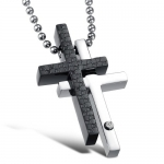 Stainless Steel Double Cross Pendant Necklace for Couples Two Tone with Inlay Rhinestone Accent, Black and Polished Steel for Him