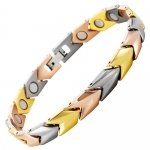 Willis Judd New Womens Yellow, Rose, White Gold Tri-colored Magnetic Titanium Bracelet in a Free Velvet Gift Box Free Link Removal Tool