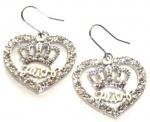 Silver Tone Designer Inspired Heart and Crown Crystal Dangle Couture Style Fashion Earrings - Silver tone