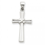 14k White Gold Cross Pendant - Measures 33.7x16.4mm - JewelryWeb