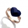Fashion Plaza 18k Rose Gold Plated Heart Shaped Blue Goldstone Ring R217 (7)