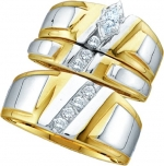 10K White Gold Two Tone Marquise Diamond Solitaire Trio Set 1/4 Cttw