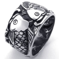 KONOV Jewelry Mens Stainless Steel Ring, Vintage Carp Fish, Black Silver, Size 8