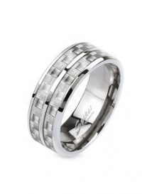 Solid Titanium White/Gray Carbon Fiber Inlay with Slit Center Comfort-Fit Band Ring, Width 8MM - Crazy2Shop