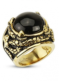 Stainless Steel Gold IP Plated Venom Entangled Snakes Wide Cast Ring with Centered Onyx Stone with Dragon Claw Setting, Width 24MM - Crazy2Shop