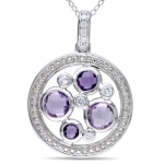 Sterling Silver 1 5/8ct Multi-Gemstone and Diamond Pendant (0.05 Cttw, G-H Color, I2-I3 Clarity)