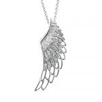 Sterling Silver Angel Feather Wing WHITE Diamond Pendant Necklace, 0.25 carat