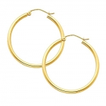 14k Yellow Gold 2mm Thickness Classic High Polished Hinged Hoop Earrings (1.8 or 45mm Diameter)