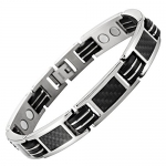 Willis Judd New Mens Titanium Magnetic Bracelet with Black Carbon Fiber Insets Free Link Removal Tool