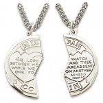 Sterling Silver 7/8 2 -Piece Mizpah Medal Necklace on 18 and 24 Chain