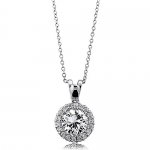 BERRICLE Sterling Silver 925 Round Cubic Zirconia CZ Halo Pendant Necklace