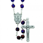 19 & 1/2 Inch 8 Millimeter Blue Glass Bead Gold Accents Rosary With Miraculous Center.