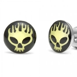 Flaming Skull Biker Style Men's Stud Stainless Steel Earrings (Yellow Black)