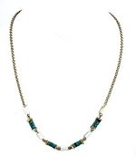 Kenneth Cole Necklace, 16 Gold-Tone Blue Green and White Cylinder Bead Necklace