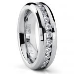 6MM Ladies Eternity Titanium Ring Wedding Band with CZ size 5