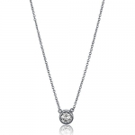 BERRICLE Sterling Silver 925 Round Cubic Zirconia CZ Solitaire Pendant Necklace